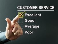 Excellent customer service survey with a businessman hand